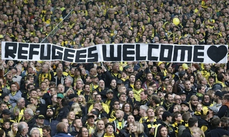 The type of welcome we should be giving refugees. Photograph: Frank Augstein/AP