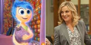 Parks and Rec star Amy Poehler and her Inside Out character Joy. Photo: plus.google.com