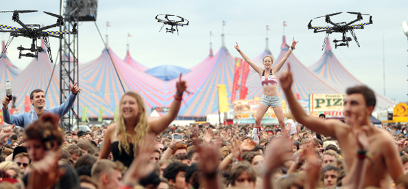 Drones delivering beer at a music festival. Photo: hoovy.co