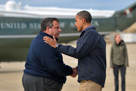 Barack Obama and Chris Christie sharing condolences after Hurricane Sandy