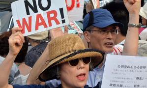 Pacifists protesting changing of the Japanese constitution. Photo: The Guardian