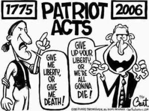 Political cartoon critical of the PATRIOT ACT. Photo: sodahead.com
