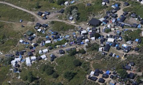 An overhead view of the makeshift migrant camp in Calais known as 'The Jungle' Photo: Reuters