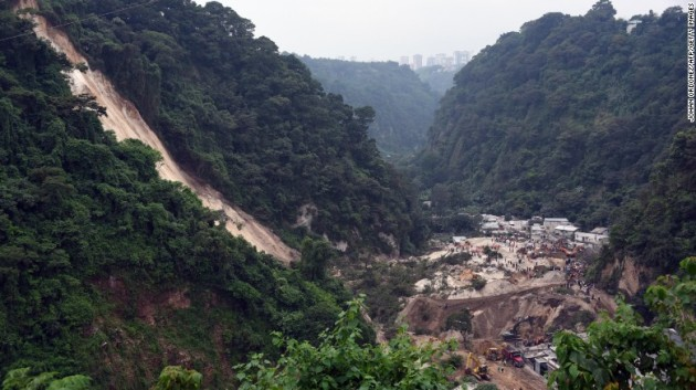 The scene of the mudslide in El Cambray, Guatemala. Photo: CNN
