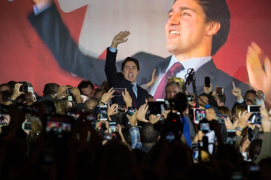 Justin Trudeau celebrates at party headquarters in Montreal after leading the Canadian Liberal Party to a majority victory. Photo: AFP