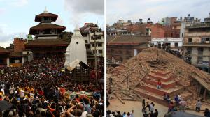 A religious shrine in Kathmandu, before and after the earthquake. Photo: keranews.com
