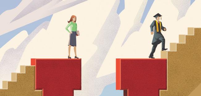 A literal 'gender gap'. Photo: womeninastronomy.blogspot.com
